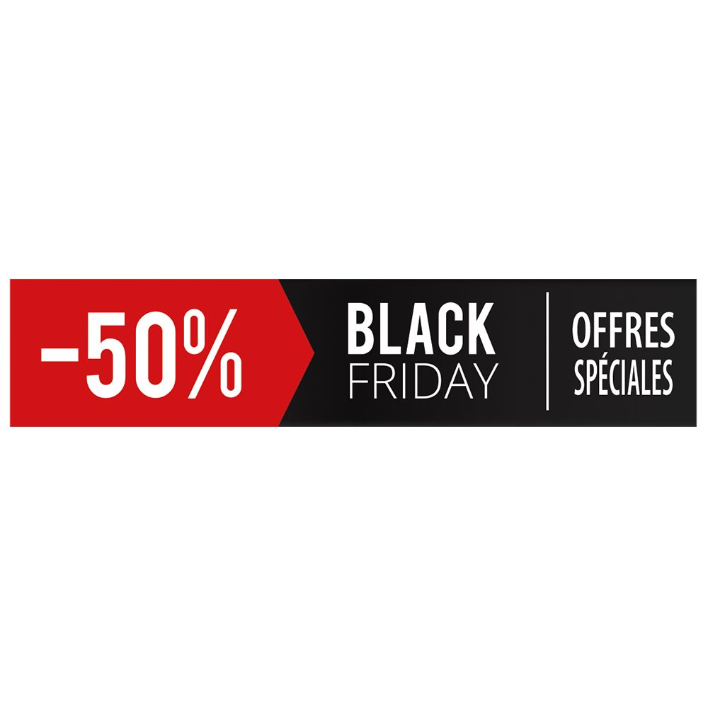 Vitrophanie petit bandeau black friday - 50 % - 20,8 x 98 cm