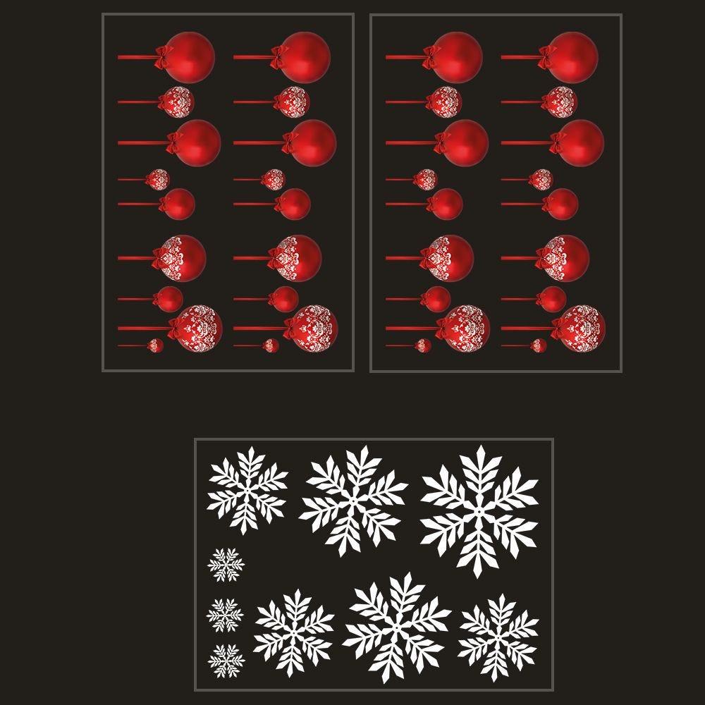 Kit promo 3 vitrophanies boules rouges et cristaux (photo)