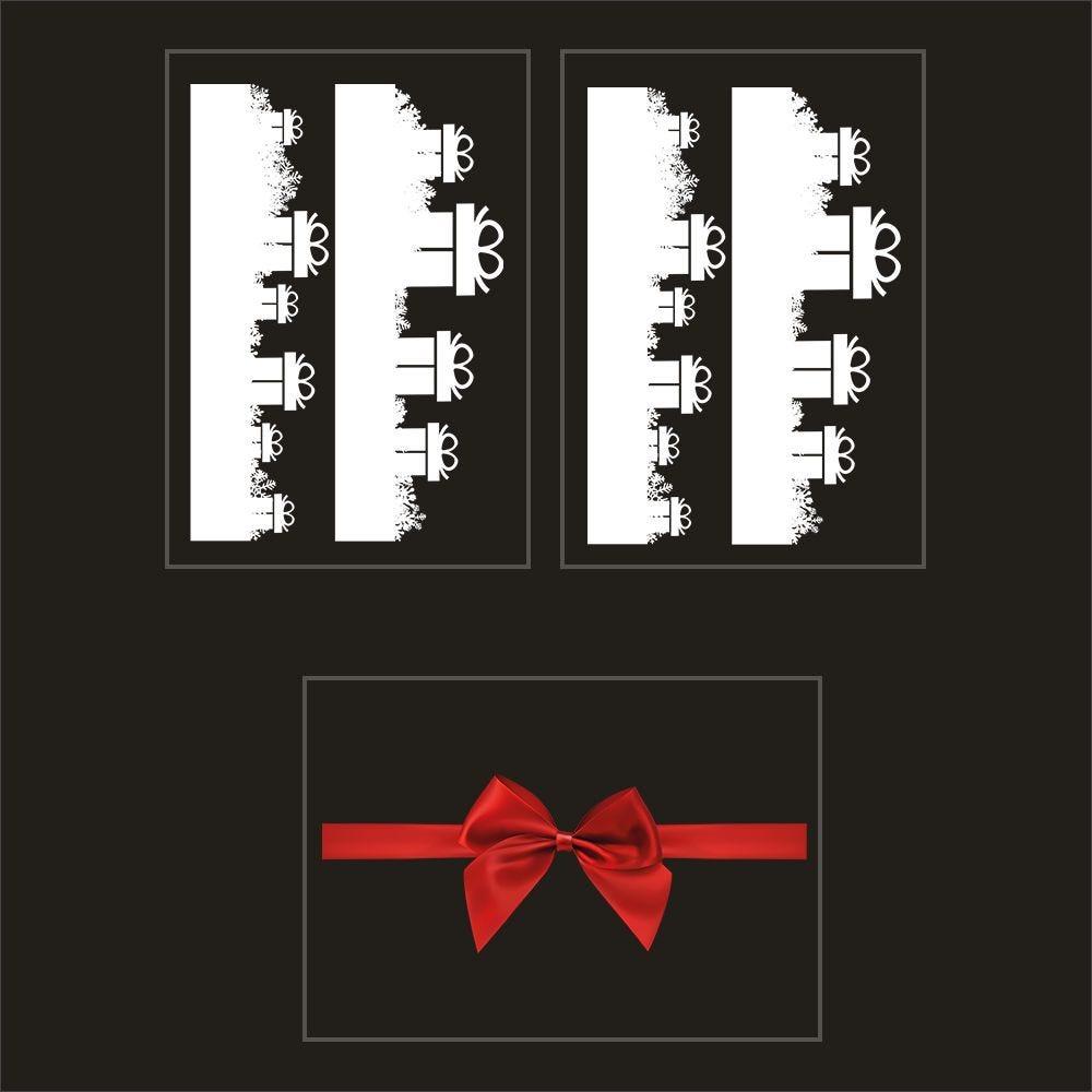 Kit promo 3 vitrophanies frises de cadeaux et nœud cadeau rouge (photo)