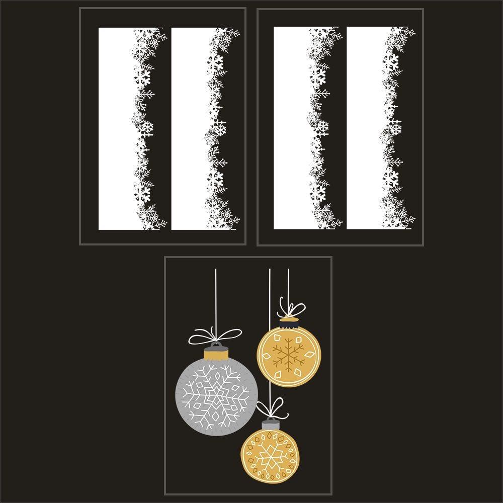 Kit promo 3 vitrophanies cristaux et suspensions de boules (photo)