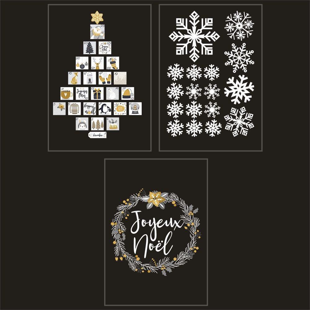 Kit promo 3 vitrophanies cristaux, couronne et sapin calendrier de l'avent (photo)