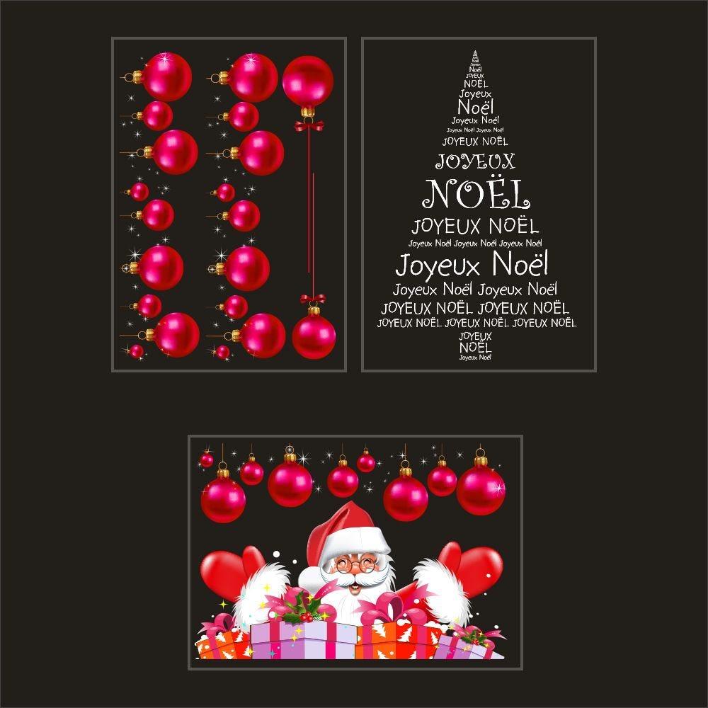 Kit promo 3 vitrophanies boules fuchsia, sapin en texte et père noël cadeaux (photo)
