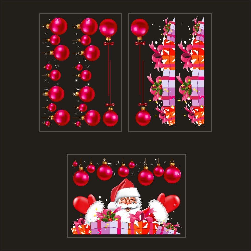 Kit promo 3 vitrophanies boules fuchsia, cadeaux et père noël (photo)