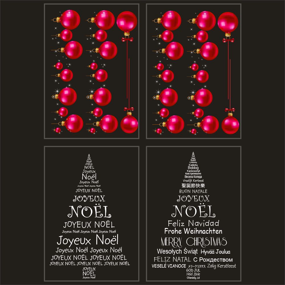 Kit promo 4 vitrophanies boules fuchsia, sapins en textes