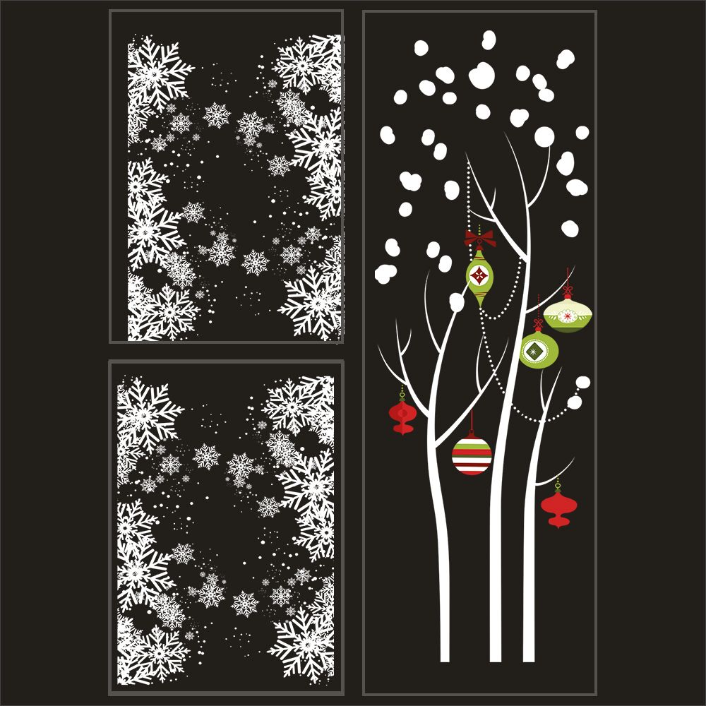 Kit promo 3 vitrophanies cristaux, arbre givré boules rouges et vertes (photo)