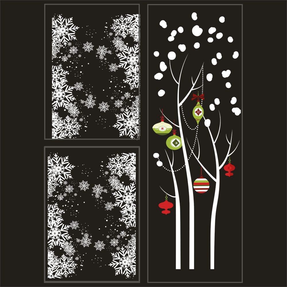 Kit promo 3 vitrophanies cristaux, arbre givré boules rouges et vertes 2 (photo)