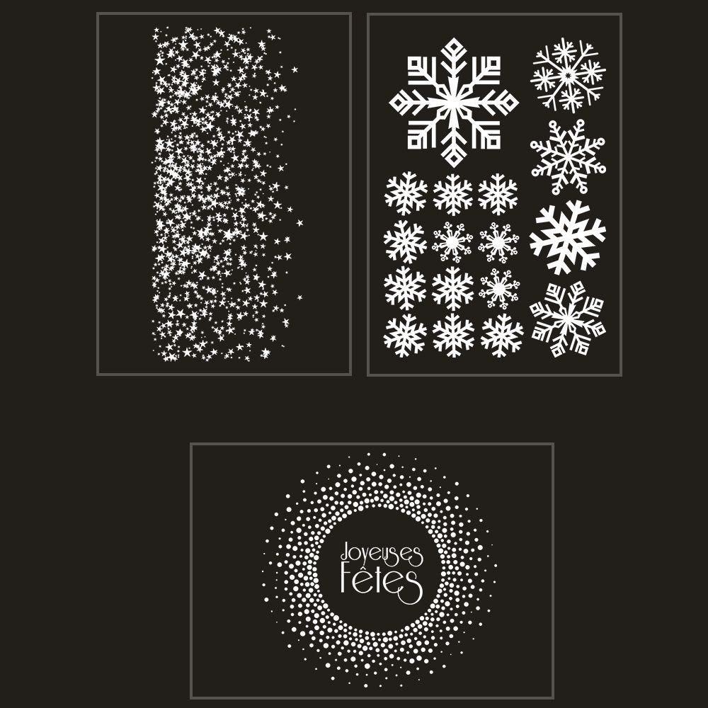 Kit promo 3 vitrophanies étoiles, cristaux et couronne joyeuses fêtes (photo)