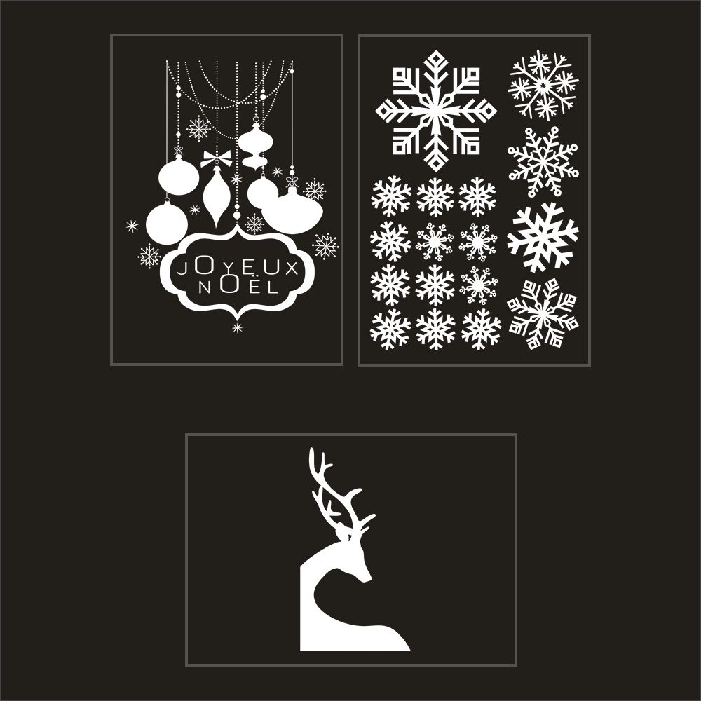 Kit promo 3 vitrophanies cristaux, renne et enseigne joyeux noël (photo)