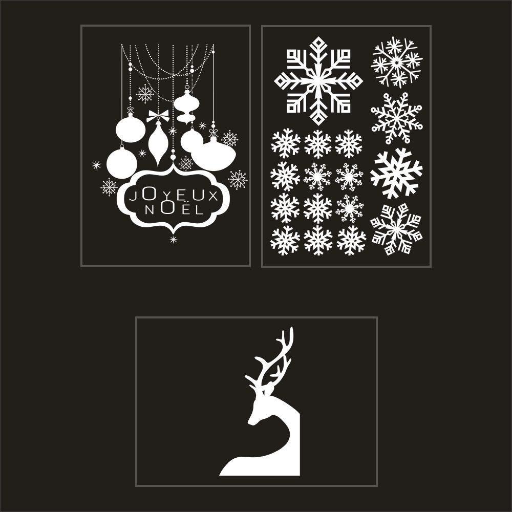 Kit promo 3 vitrophanies cristaux, renne et enseigne joyeux noël 2 (photo)