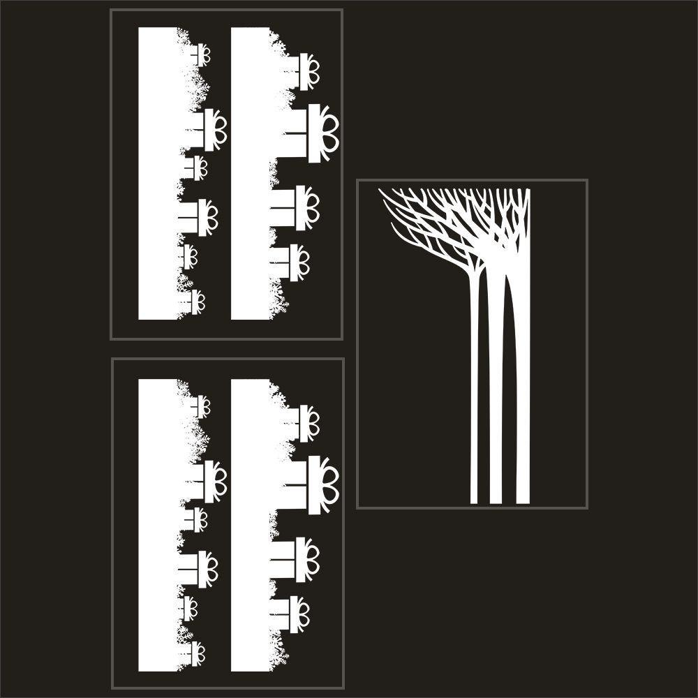 Kit promo 3 vitrophanies frises de cadeaux et forêt givrée (photo)