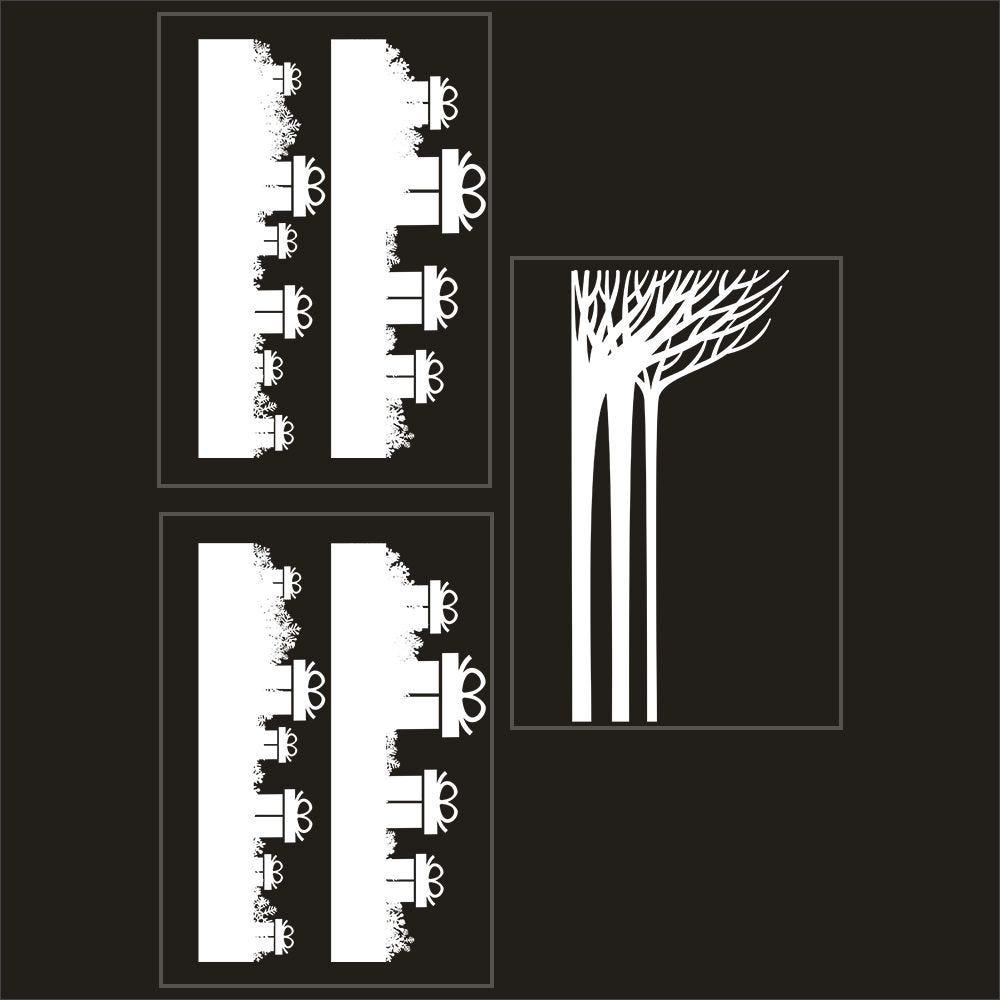 Kit promo 3 vitrophanies frises de cadeaux et forêt givrée 2 (photo)