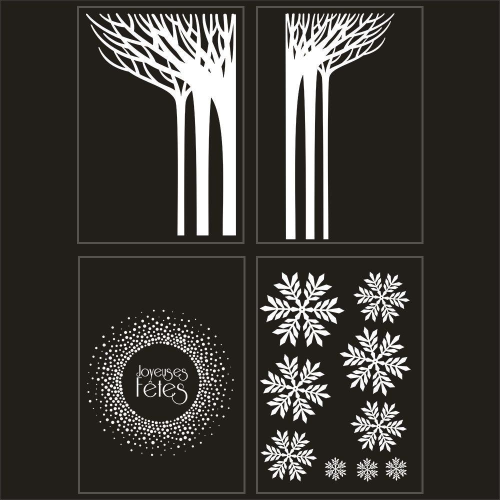 Kit promo 4 vitrophanies forêt givrée, cristaux et couronne 2