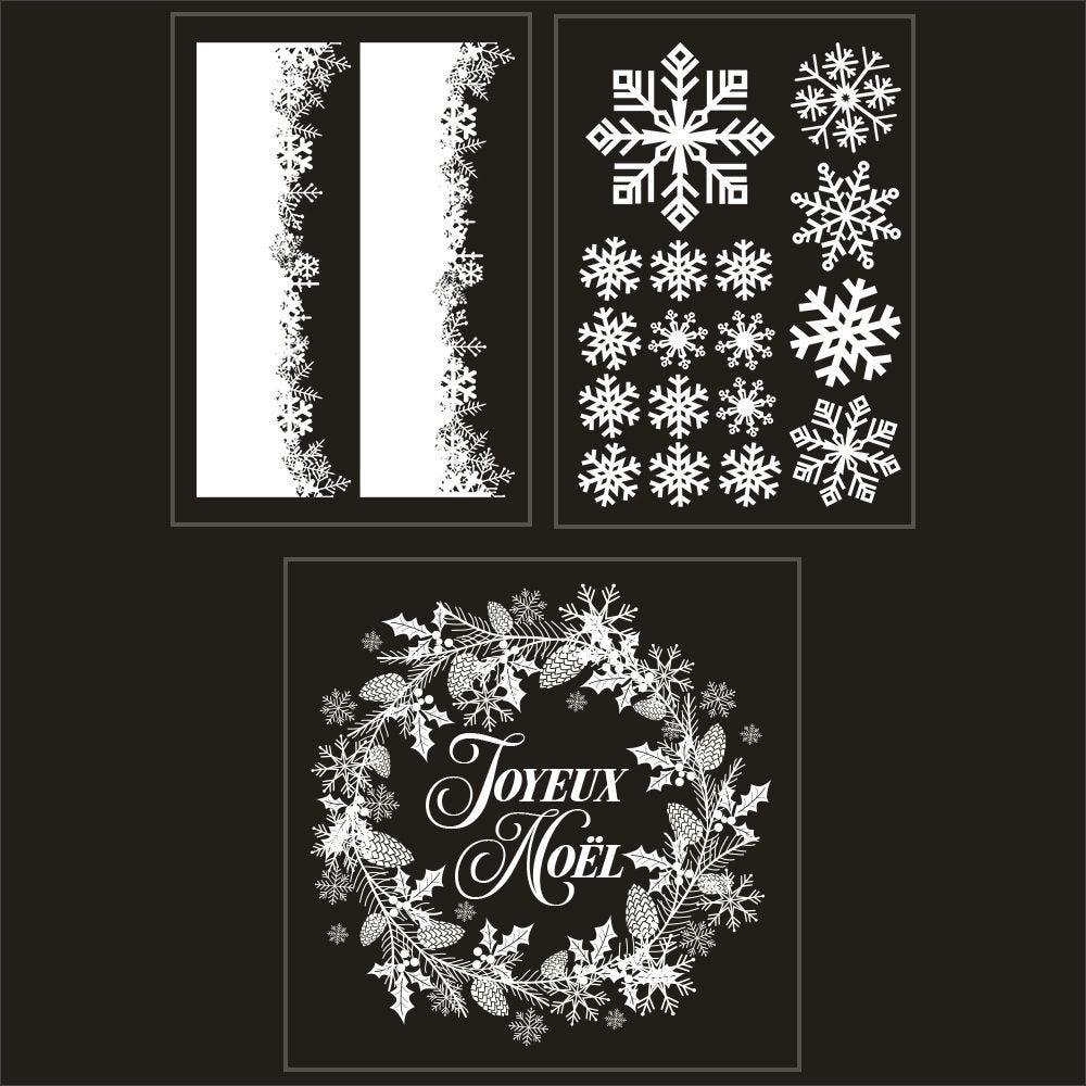 Kit promo 3 vitrophanies cristaux et couronne joyeux noël (photo)