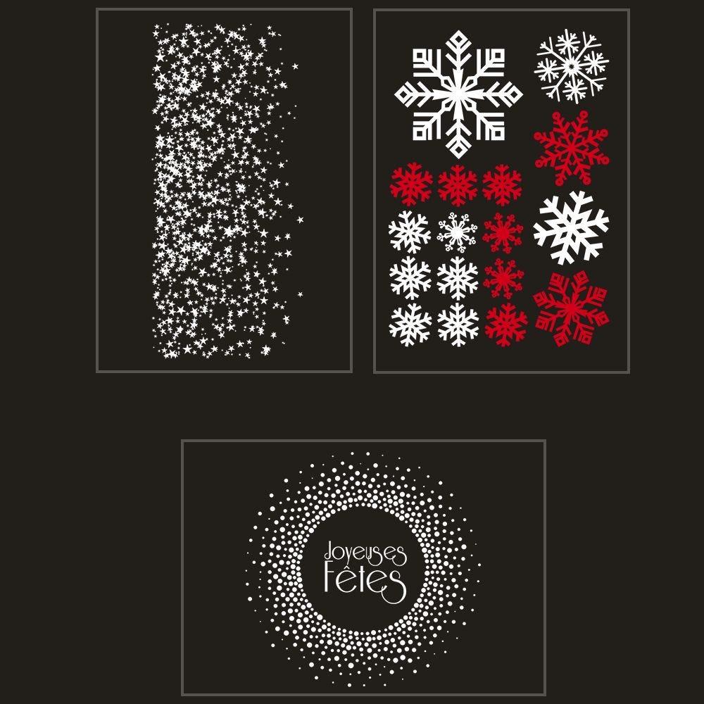 Kit promo 3 vitrophanies étoiles, cristaux, couronne joyeuses fêtes (photo)