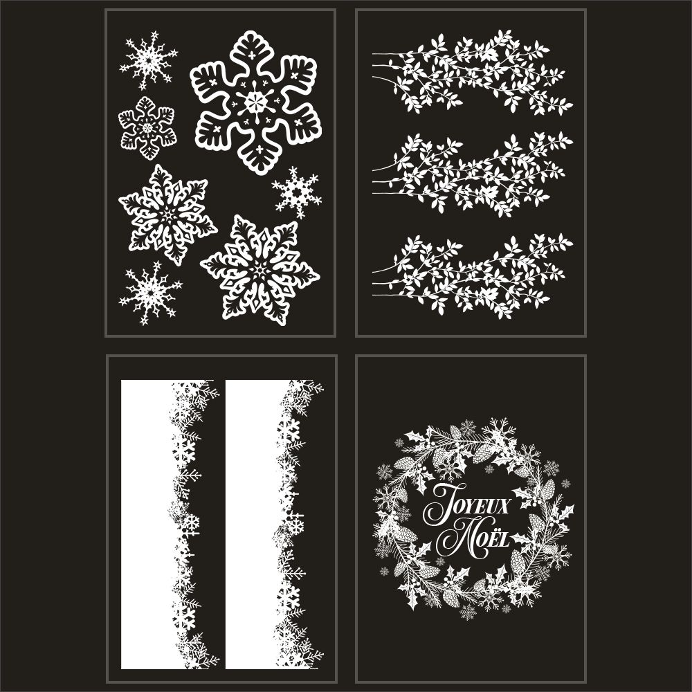 Kit promo 4 vitrophanies feuilles givrées, cristaux et couronne