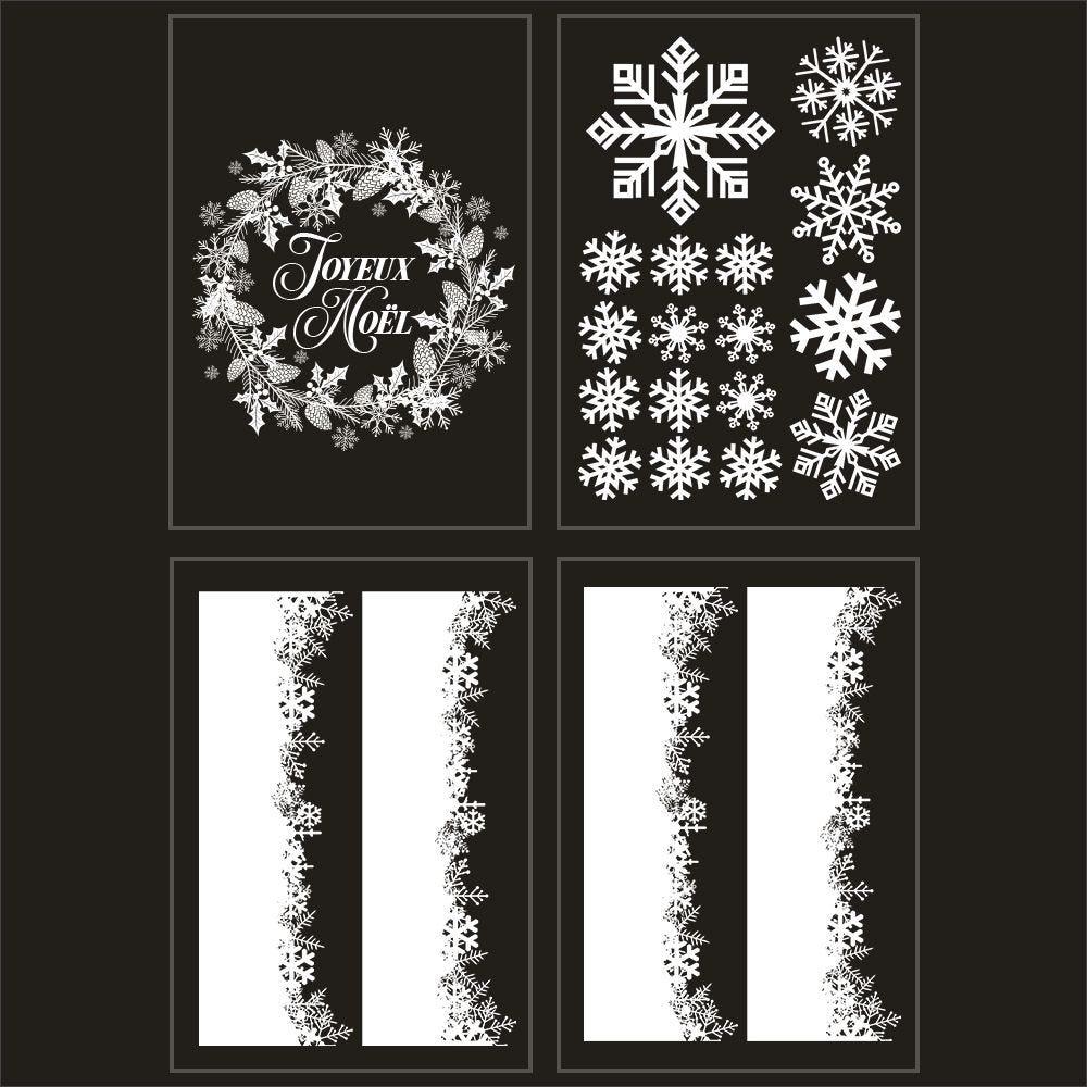 Kit promo 4 vitrophanies cristaux et couronne joyeux noël