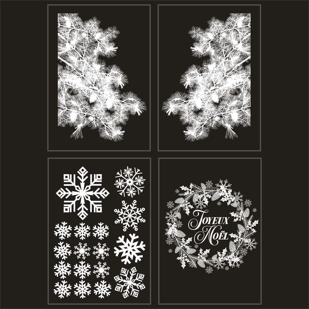 Kit promo 4 vitrophanies angles de pin givré, cristaux et couronne