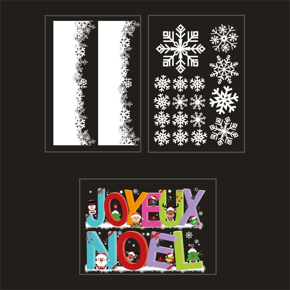 Kit promo 3 vitrophanies cristaux et banderole géante joyeux noël (photo)