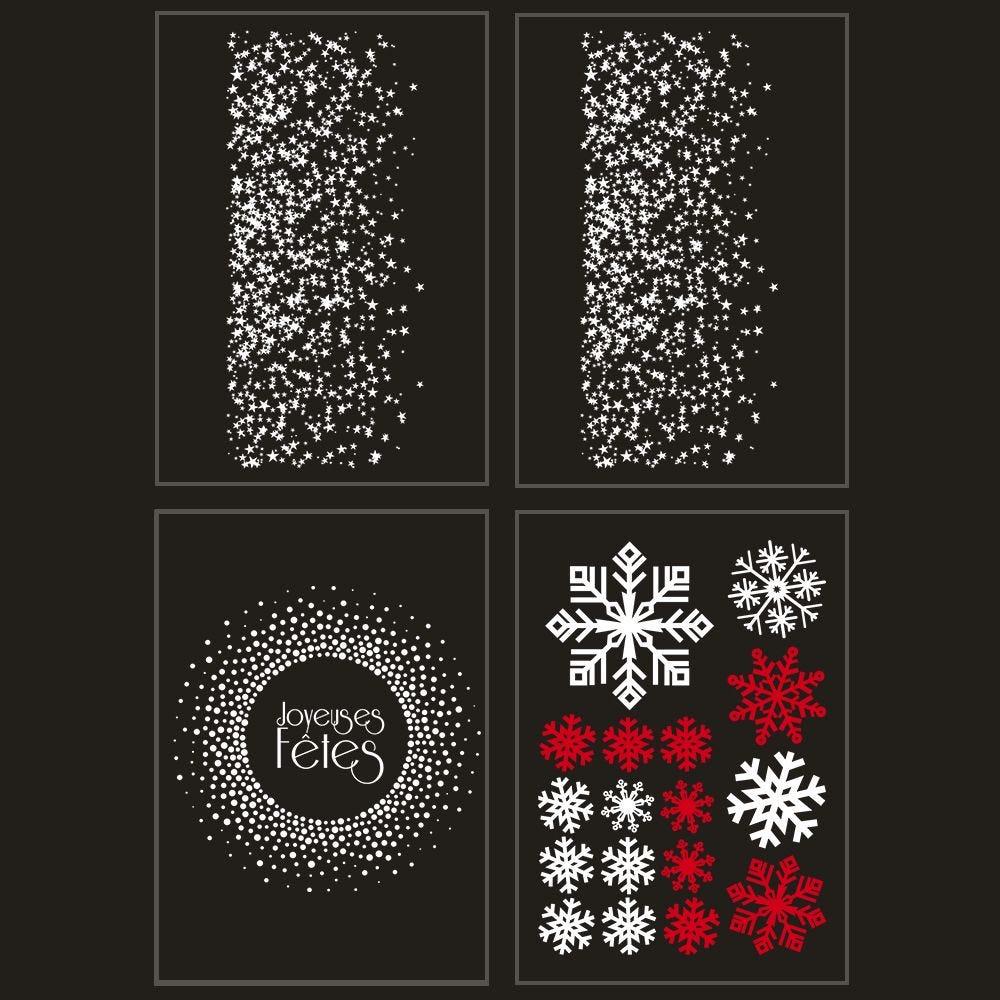 Kit promo 4 vitrophanies étoiles, cristaux et couronne joyeuses fêtes