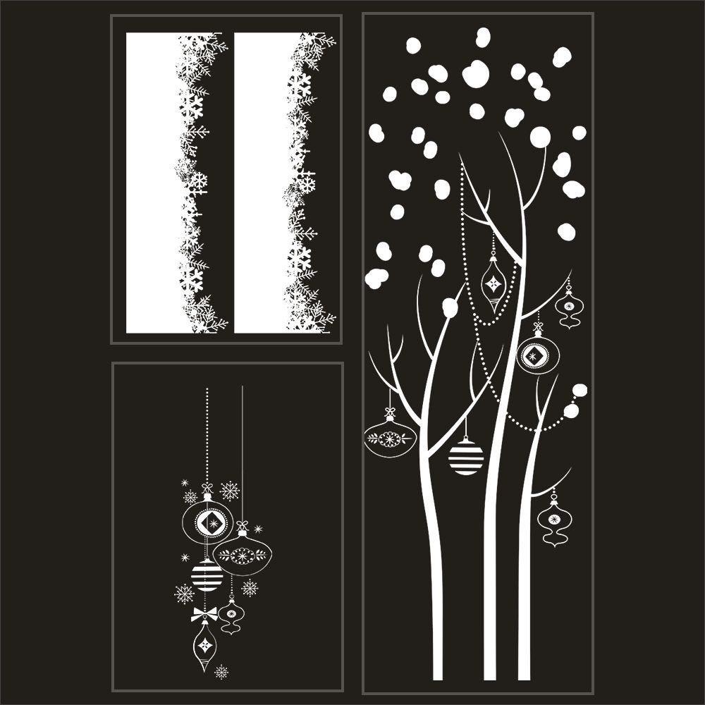 Kit promo 3 vitrophanies cristaux, arbre givré et suspensions de boules (photo)