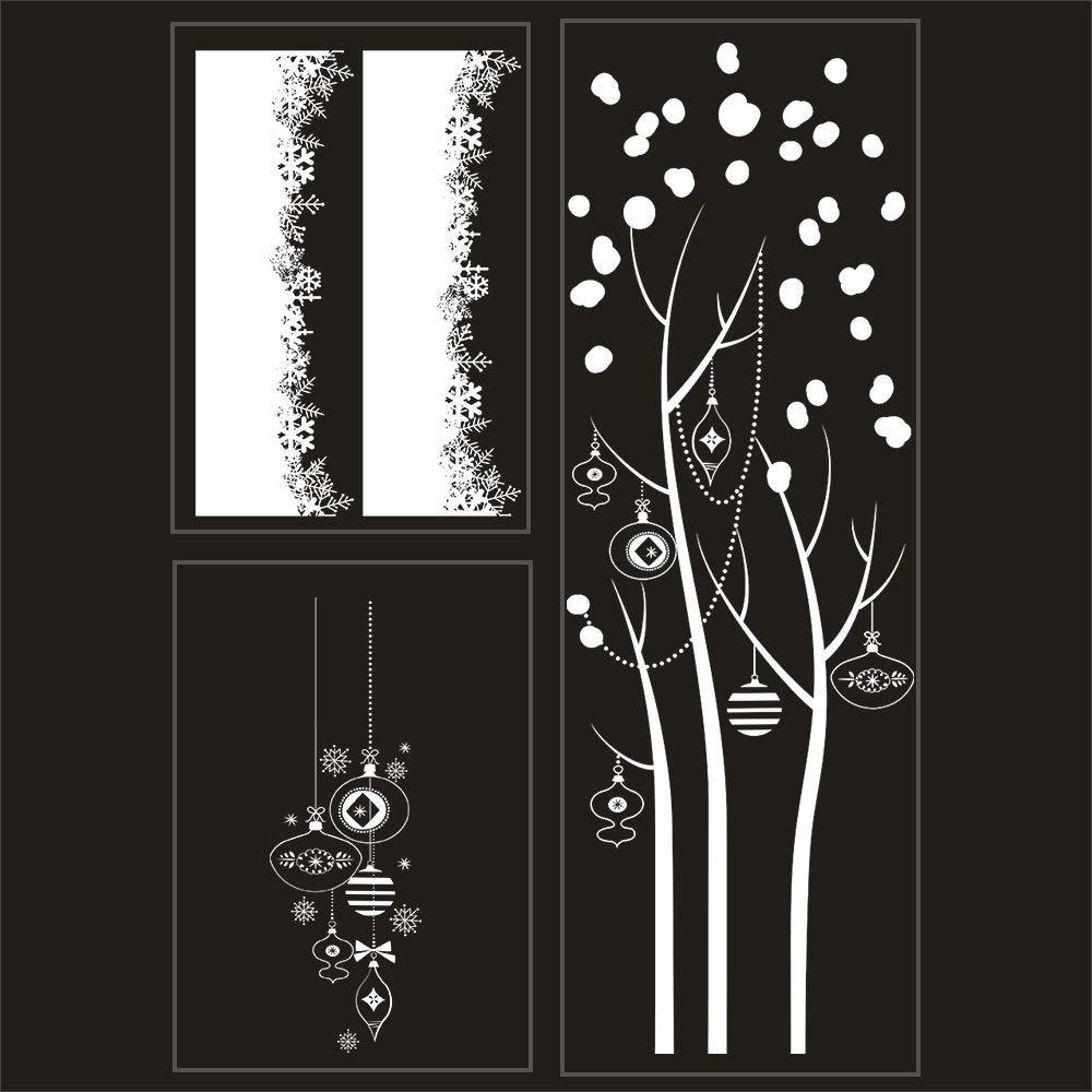 Kit promo 3 vitrophanies cristaux, arbre givré et suspensions de boules 2 (photo)