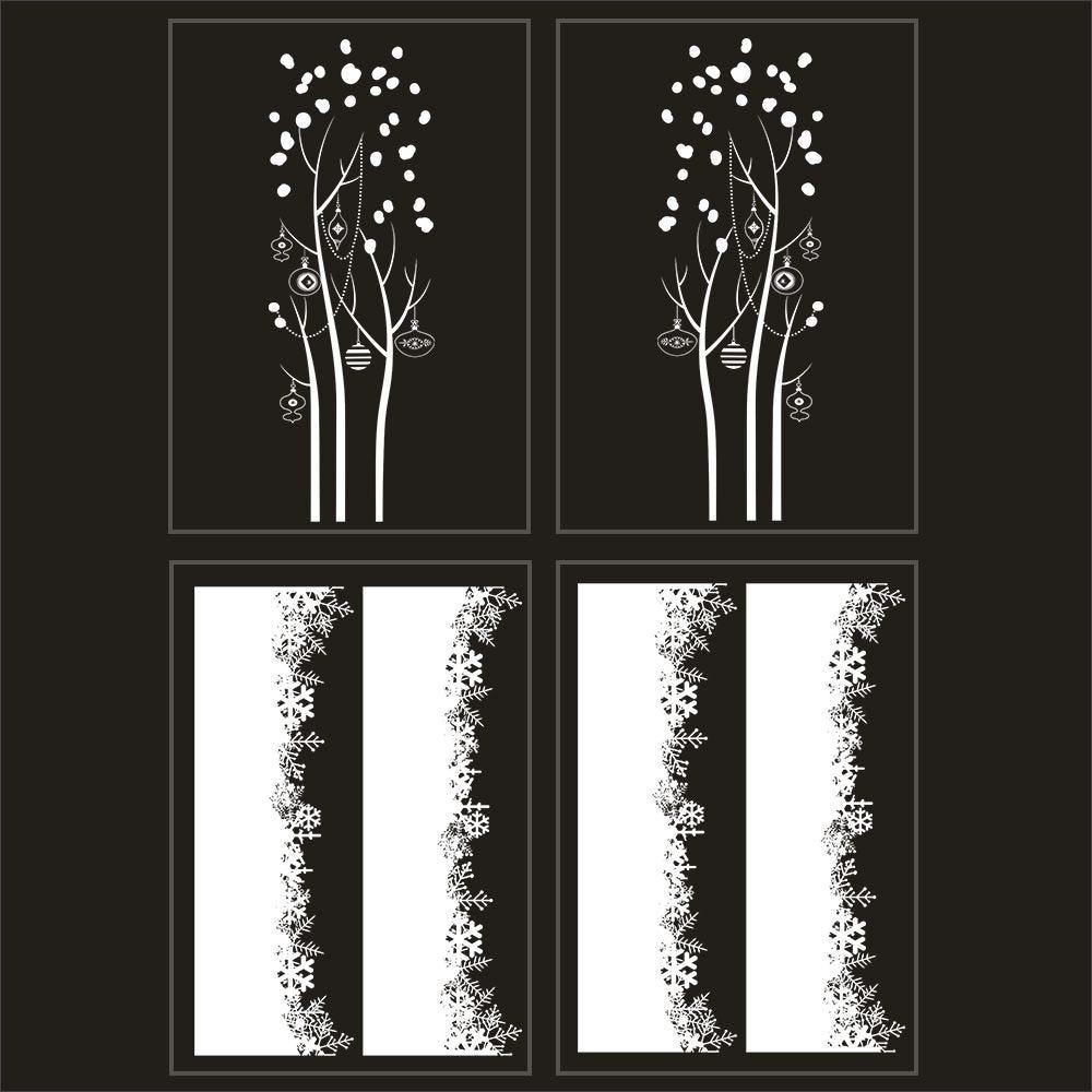 Kit promo 4 vitrophanies arbres givrés et cristaux
