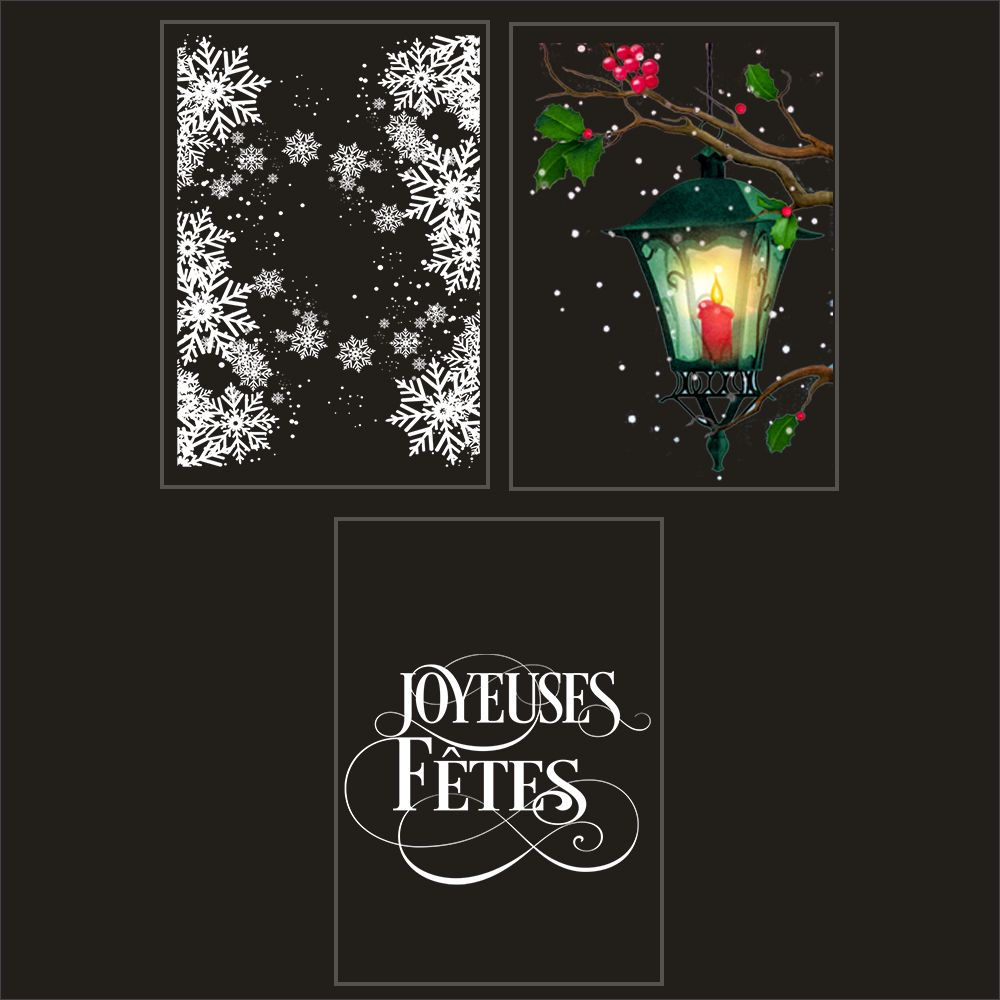 Kit promo 3 vitrophanies cristaux, lanterne et joyeuses fêtes (photo)