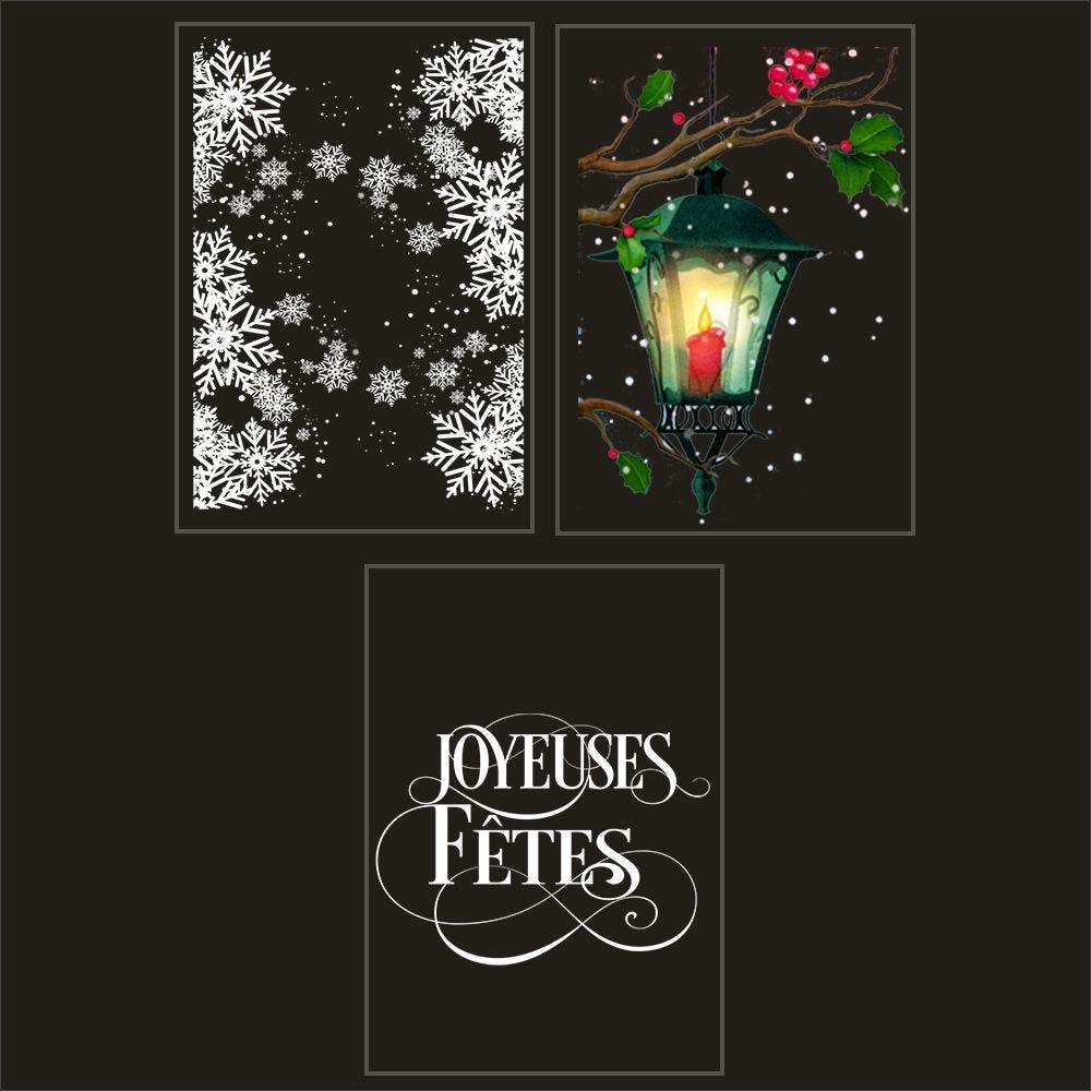 Kit promo 3 vitrophanies cristaux, lanterne et joyeuses fêtes 2 (photo)
