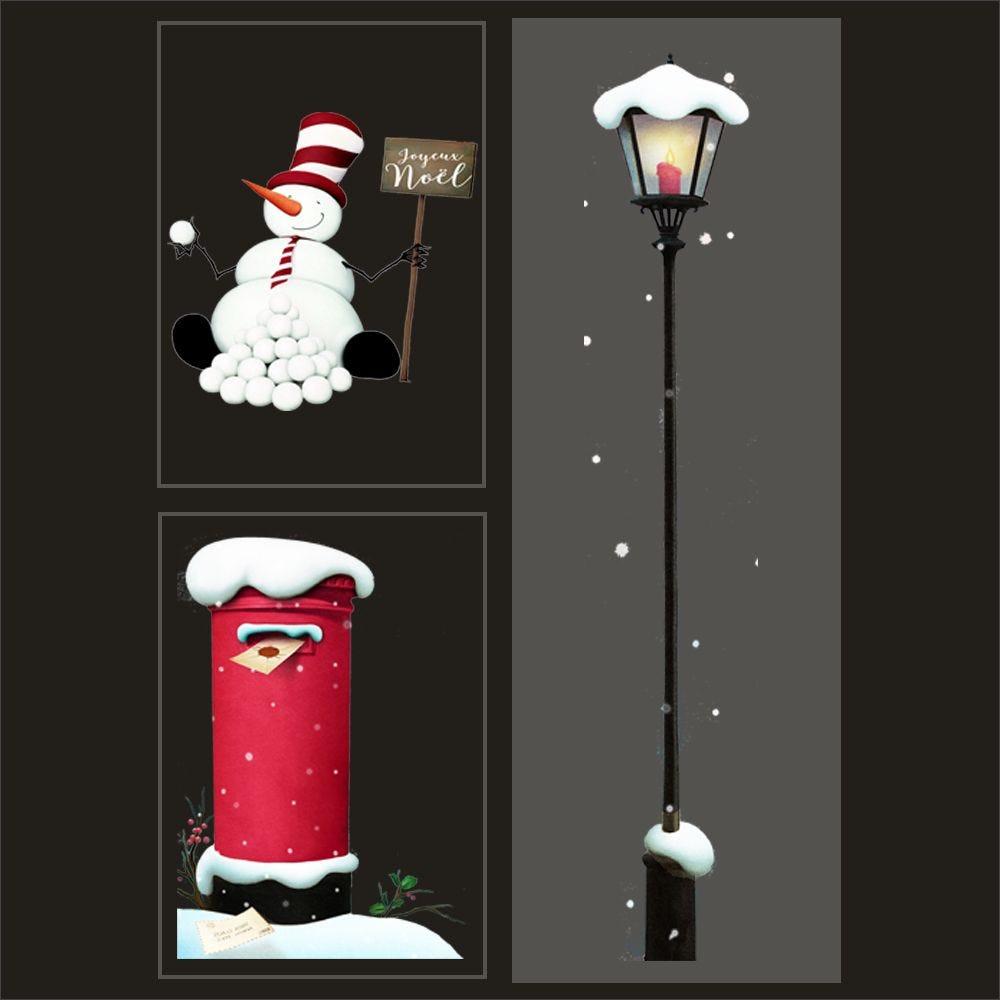 Kit promo 3 vitrophanies bonhomme de neige, boîte postale et lampadaire (photo)