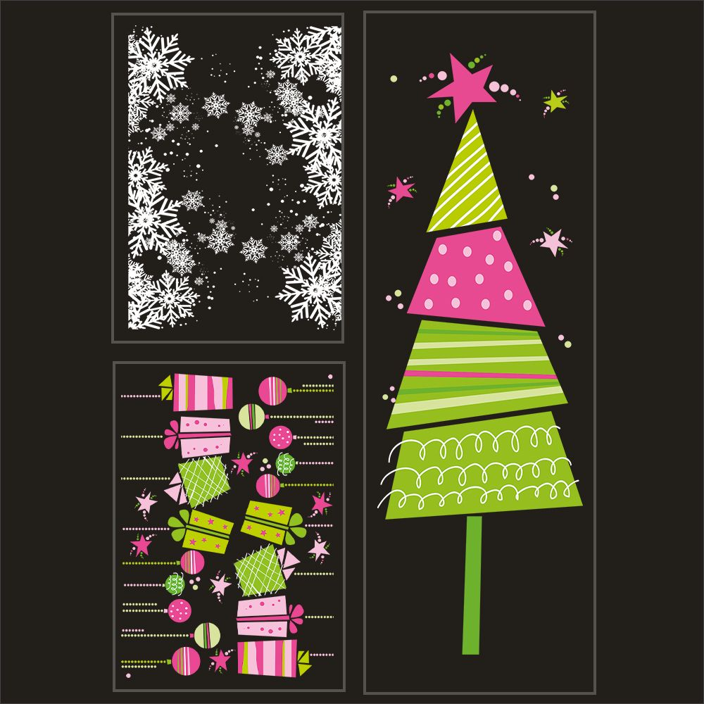 Kit promo 3 vitrophanies cristaux, cadeaux, boules et sapin stylisé (photo)