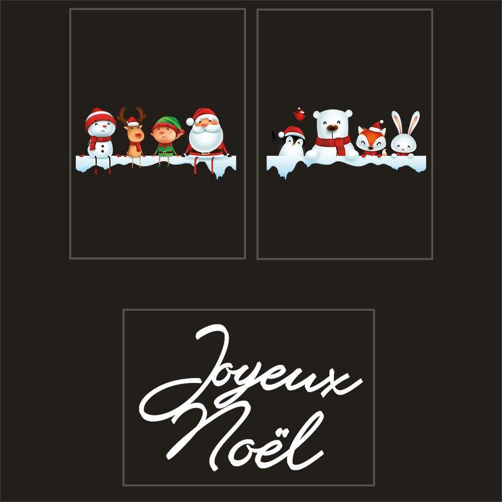 Kit promo 4 vitrophanies étagères de neige, personnages animaux et texte