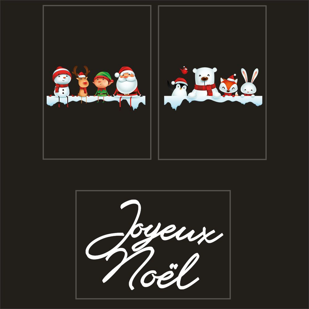 Kit promo 4 vitrophanies étagères de neige, personnages animaux et texte 2