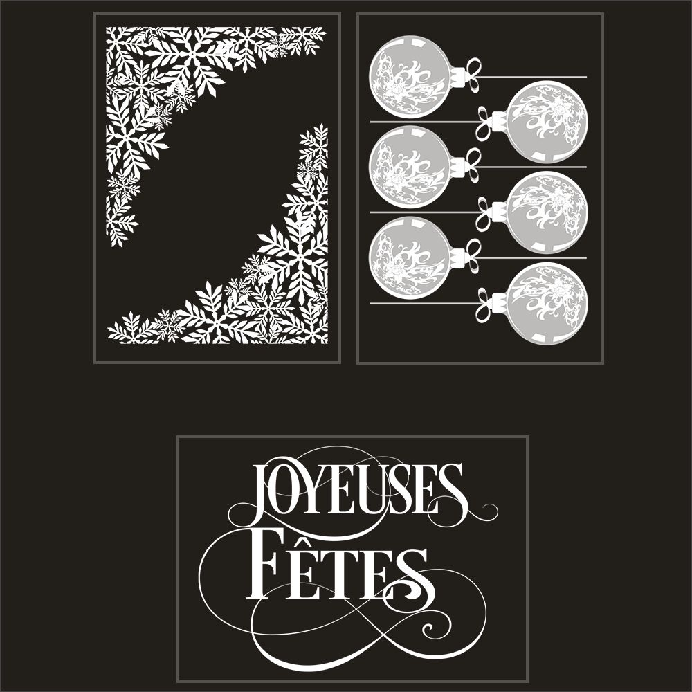 Kit promo 3 vitrophanies angles de cristaux, boules et texte (photo)