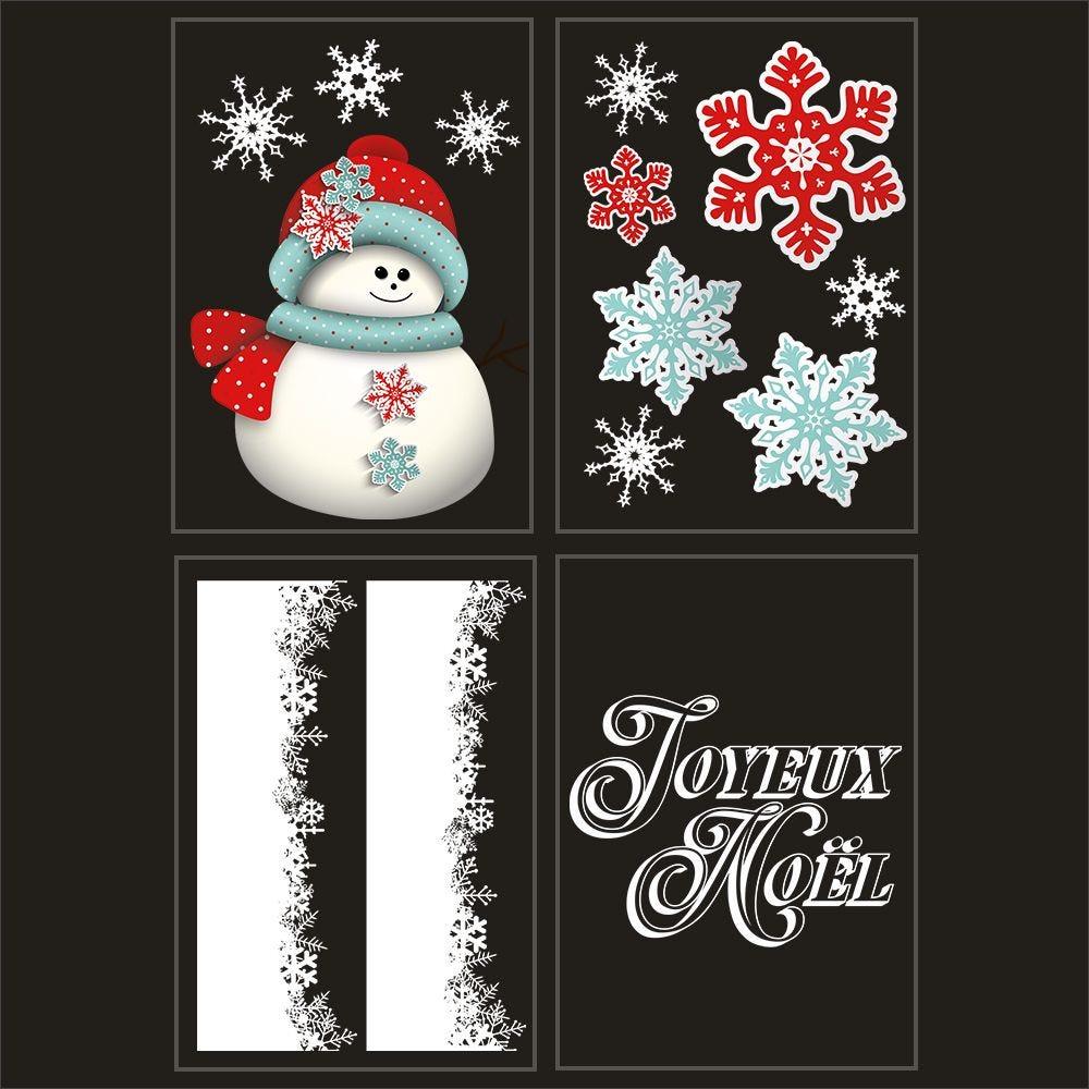 Kit promo 4 vitrophanies bonhomme de neige, cristaux et texte