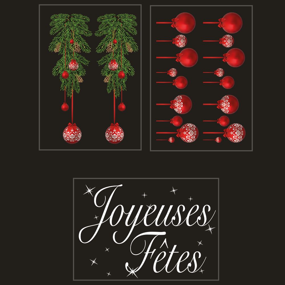 Kit promo 3 vitrophanies suspensions boules et joyeuses fêtes