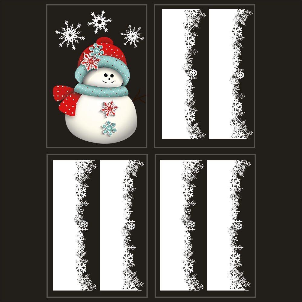 Kit promo 4 vitrophanies bonhomme de neige et cristaux