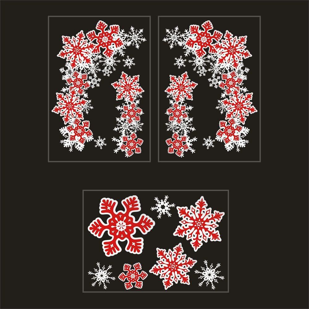 Kit promo 3 vitrophanies angles de cristaux et cristaux rouges et blancs (photo)