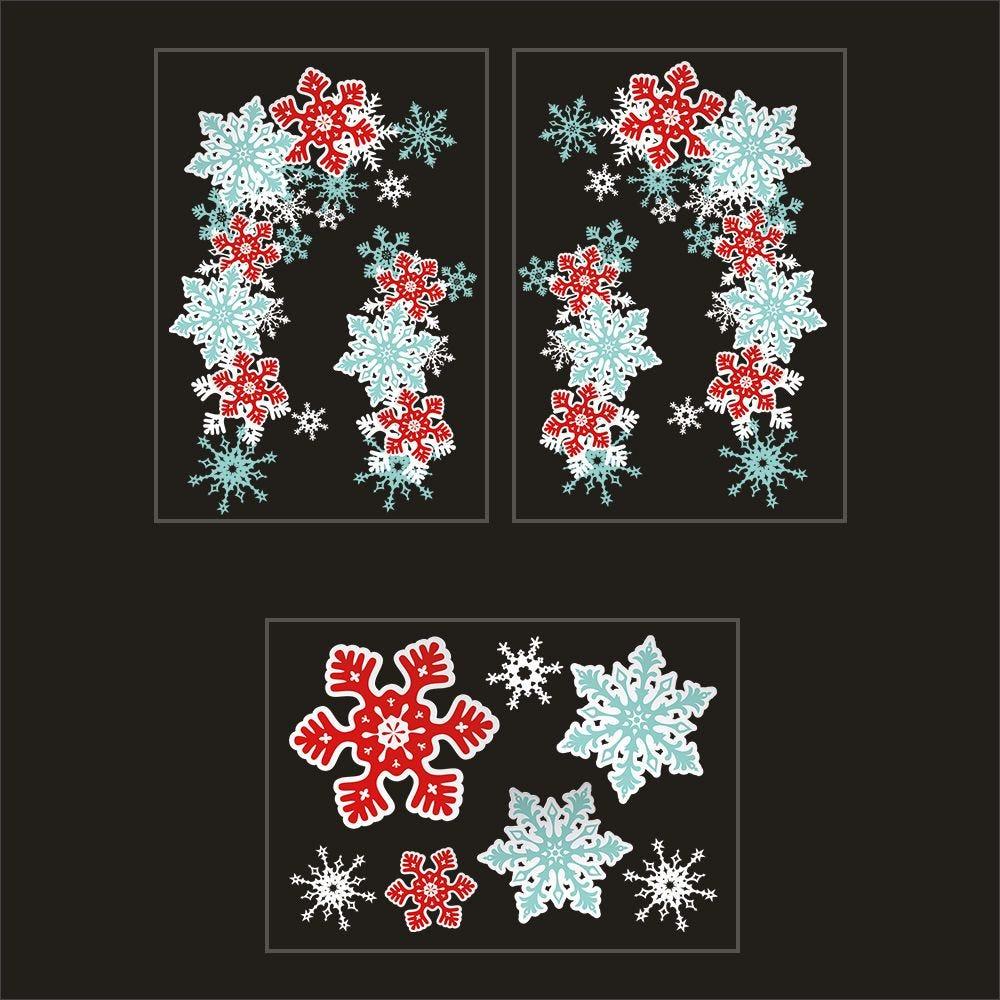 Kit promo 3 vitrophanies angles cristaux, cristaux bleus, rouges, blancs (photo)