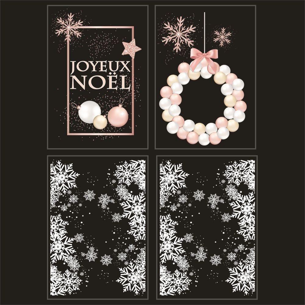 Kit promo 4 vitrophanies cristaux, boules et pancarte joyeux noël
