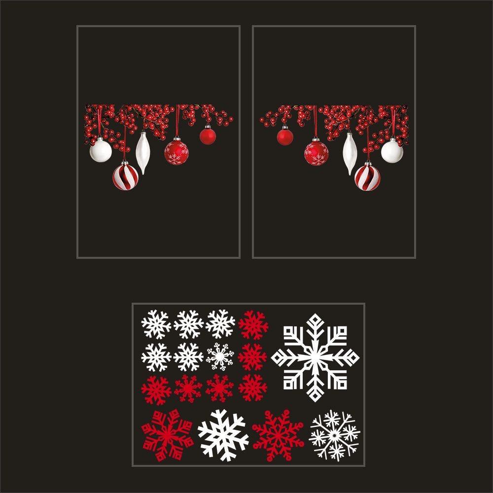 Kit promo 3 vitrophanies boules rouges et blanches ,cristaux (photo)