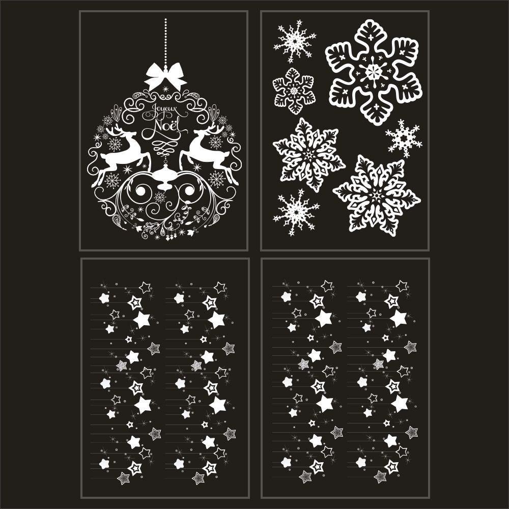 Kit promo 4 vitrophanies boule géante , cristaux et étoiles blanches