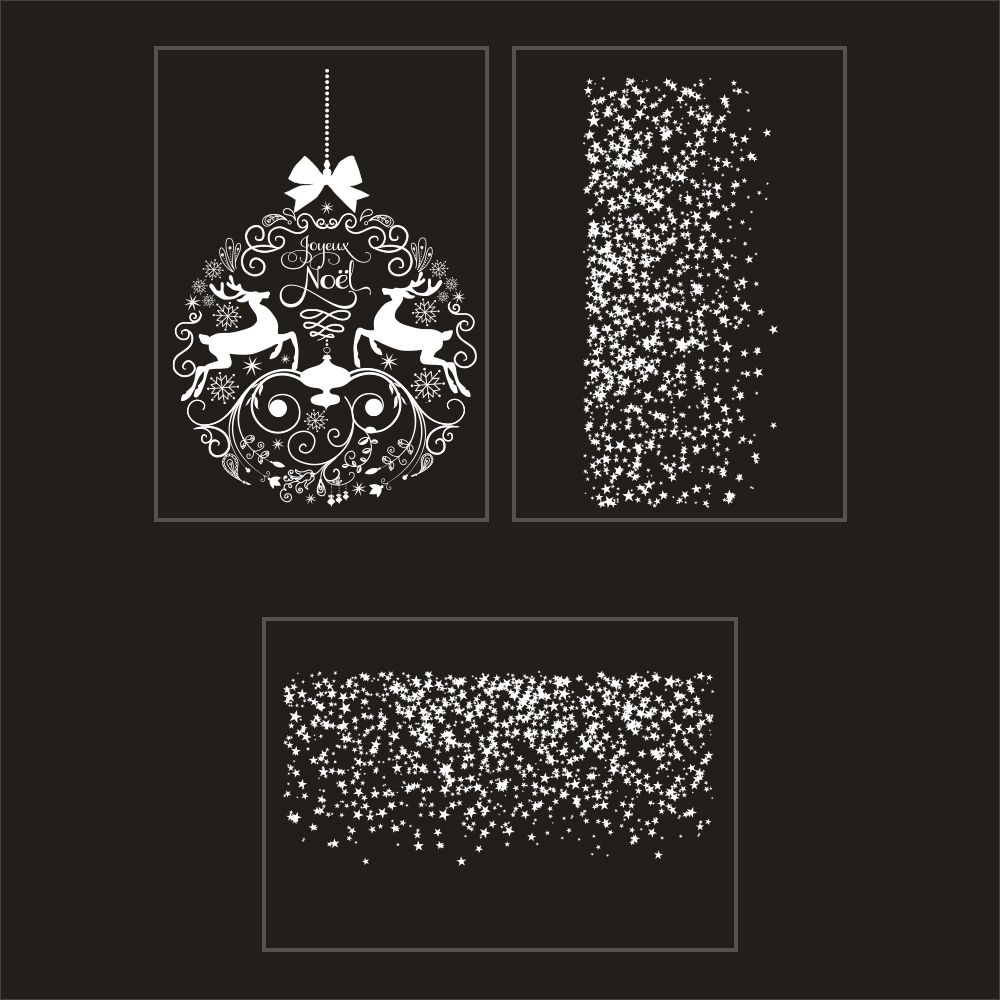 Kit promo 3 vitrophanies boule géante et frises d'étoiles (photo)