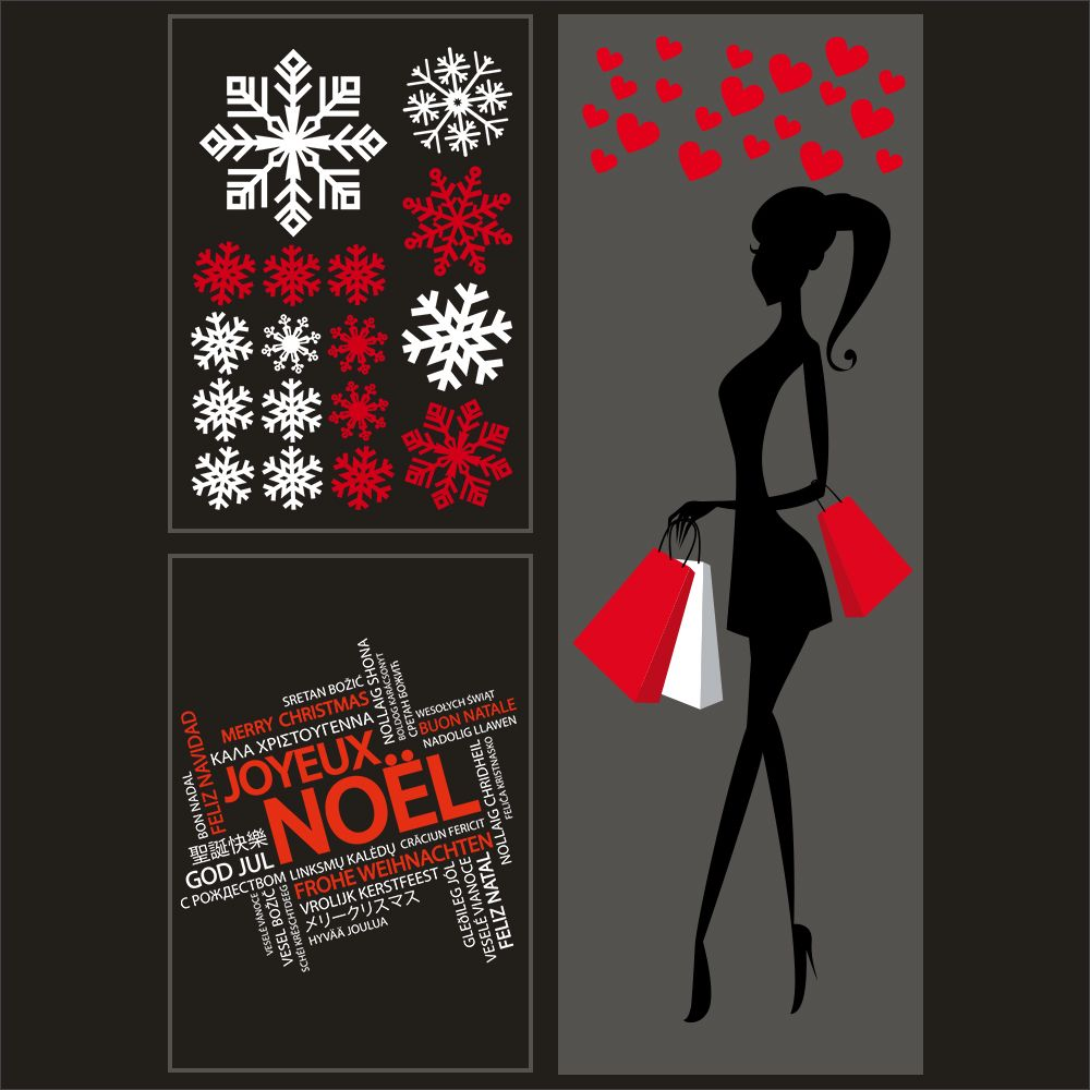 Kit promo 3 vitrophanies silhouette shopping, cristaux et texte multilingue