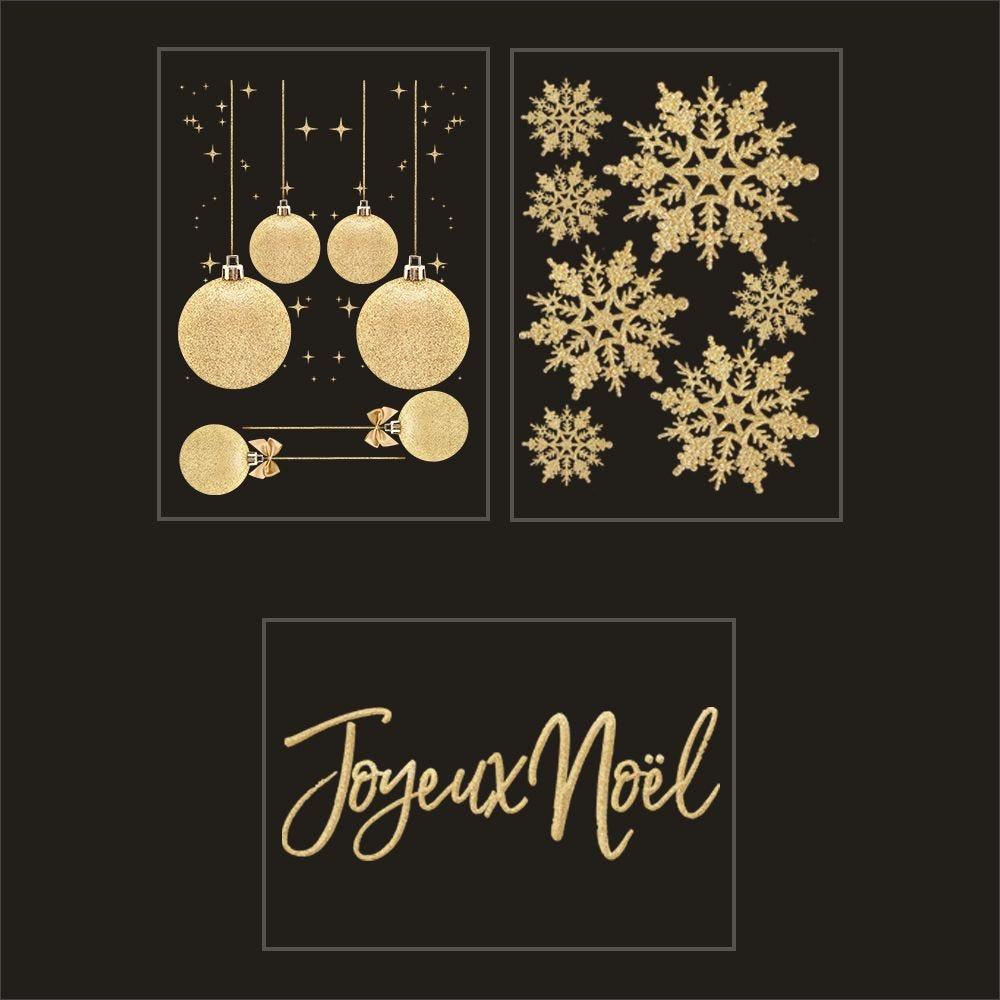 Kit promo 3 vitrophanies boules, cristaux et joyeux noël dorés (photo)