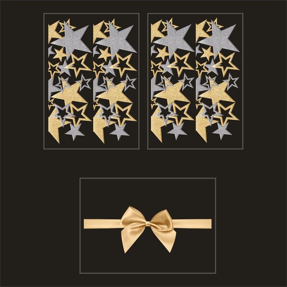 Kit promo 3 vitrophanies frises d'étoiles or et argent et nœud cadeau (photo)