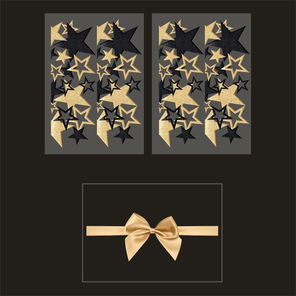 Kit promo 3 vitrophanies frises d'étoiles or et noir et nœud cadeau (photo)