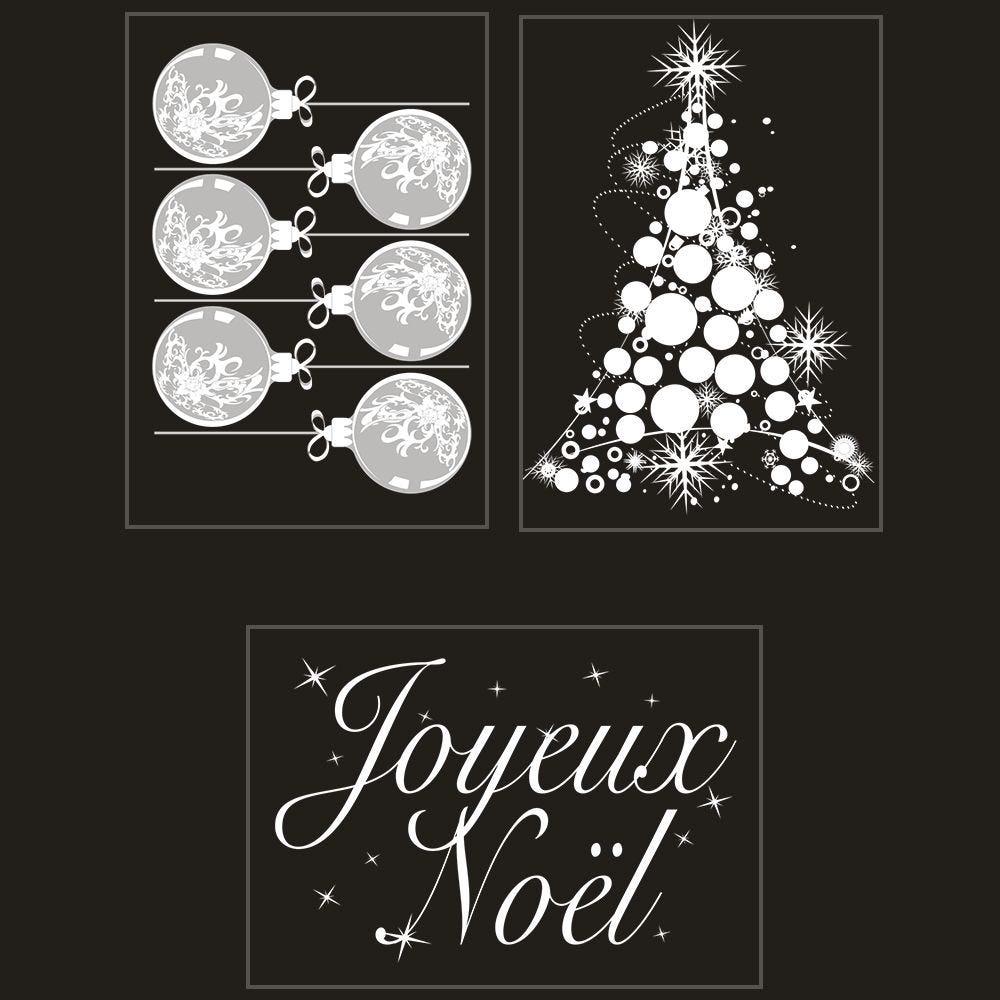 Kit promo 3 vitrophanies boules, sapin et texte joyeux noël (photo)