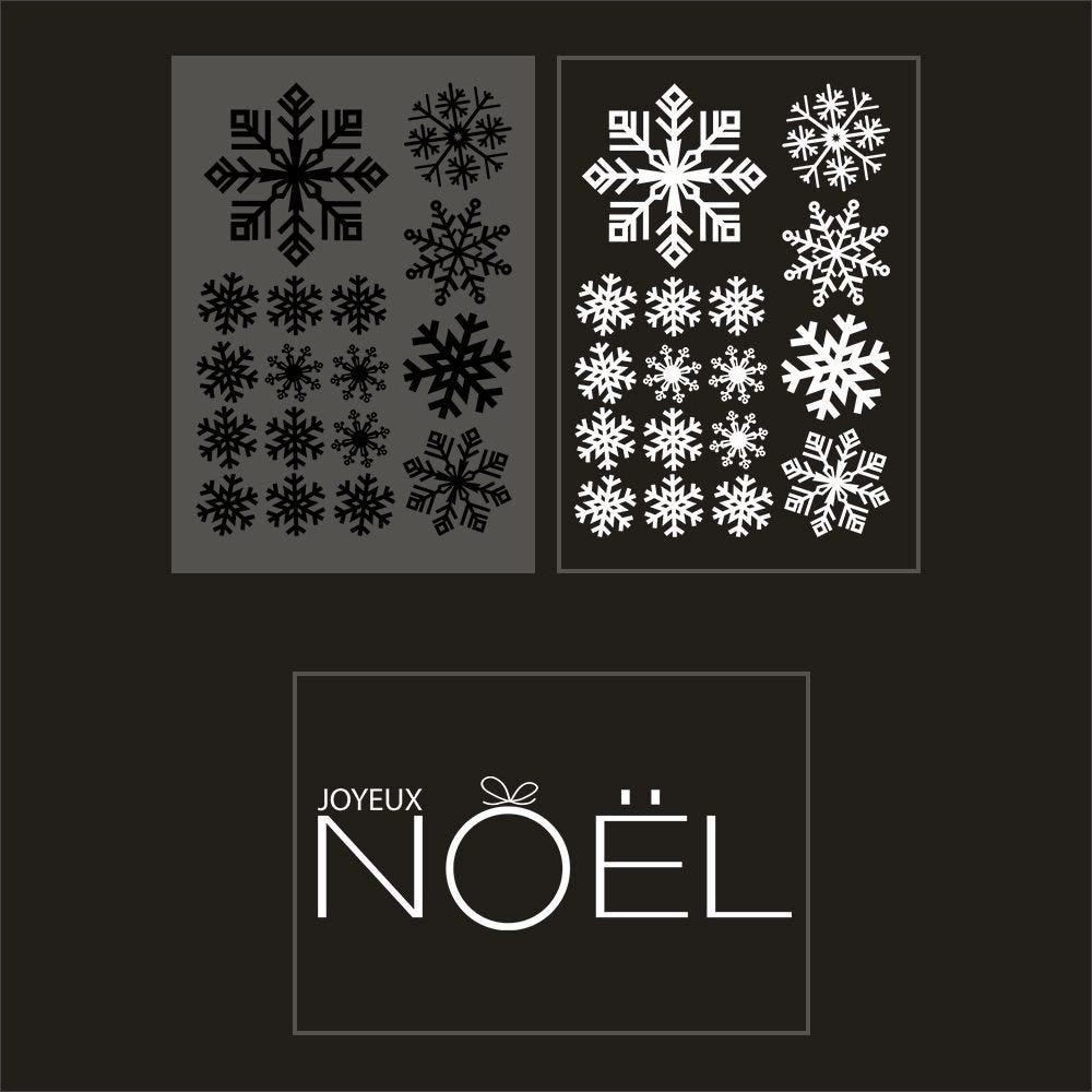 Kit promo 3 vitrophanies cristaux noirs et blancs, texte joyeux noël (photo)