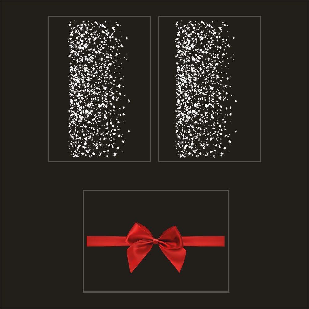Kit promo 3 vitrophanies frises d'étoiles et nœud cadeau rouge (photo)