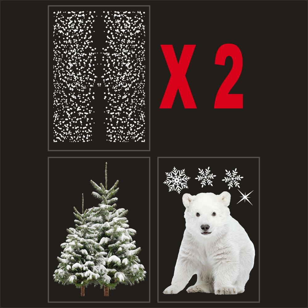 Kit promo 4 vitrophanies flocons, sapins enneigés et ourson polaire